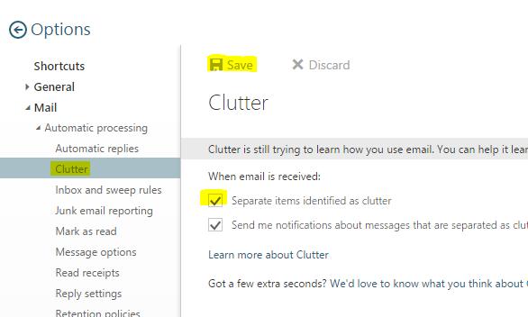 Office 365 Clutter Settings in Web Mail App