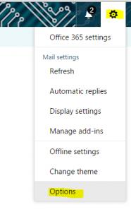 Office 365 Options Menu